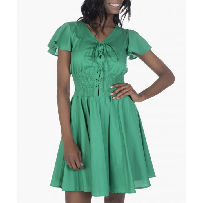 Image for Emerald green cotton pleated dress