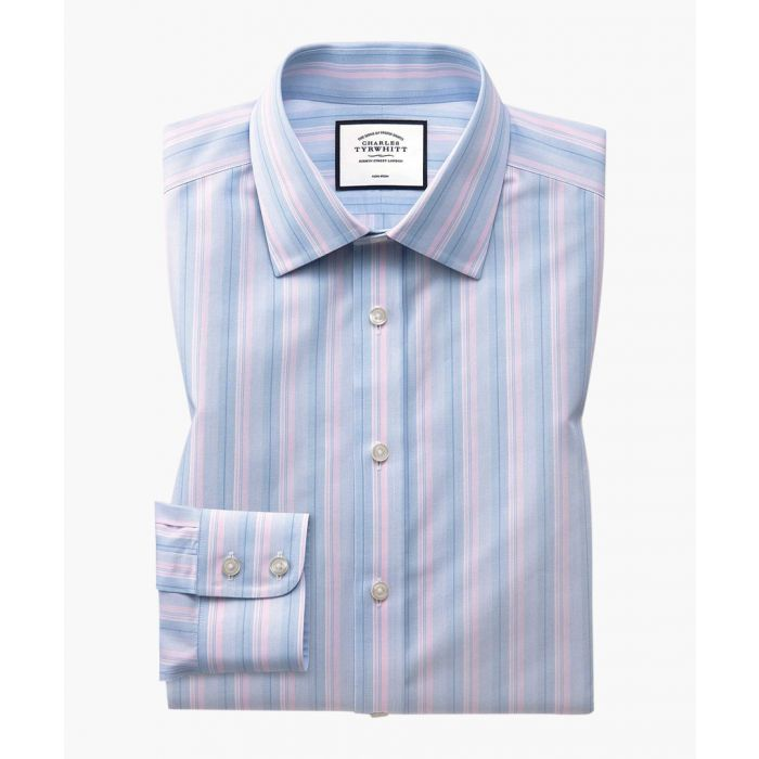 Image for Pink and blue pure cotton slim fit multi-striped shirt