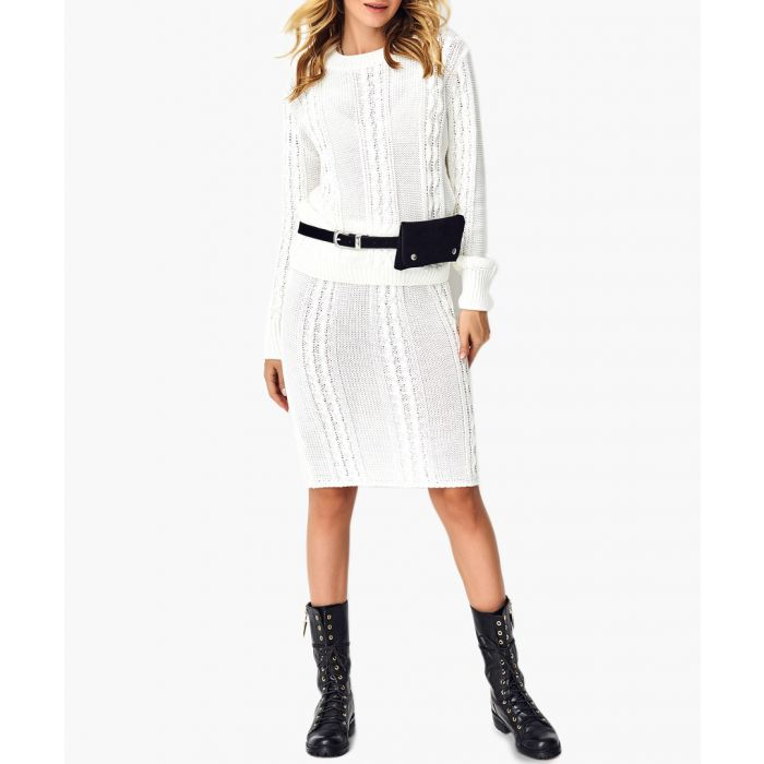 Image for White knitted sweater and skirt set