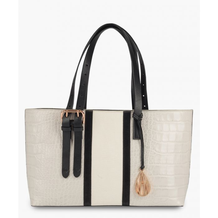 Image for Amanda Wakeley The Stripe East West Dean Bags Mineral Croc/Ecru Lizard
