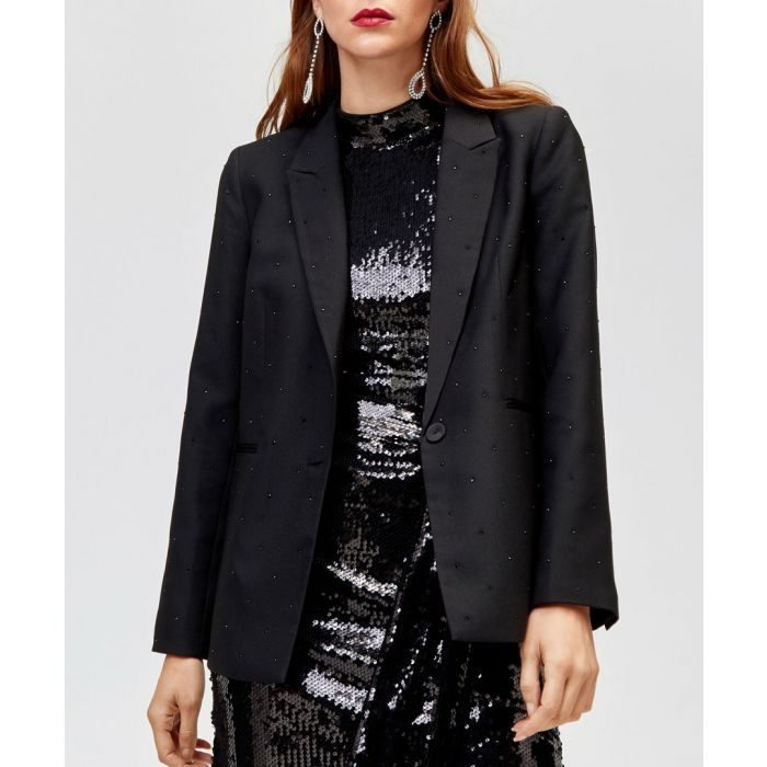 Image for Rhinestone black one-button blazer