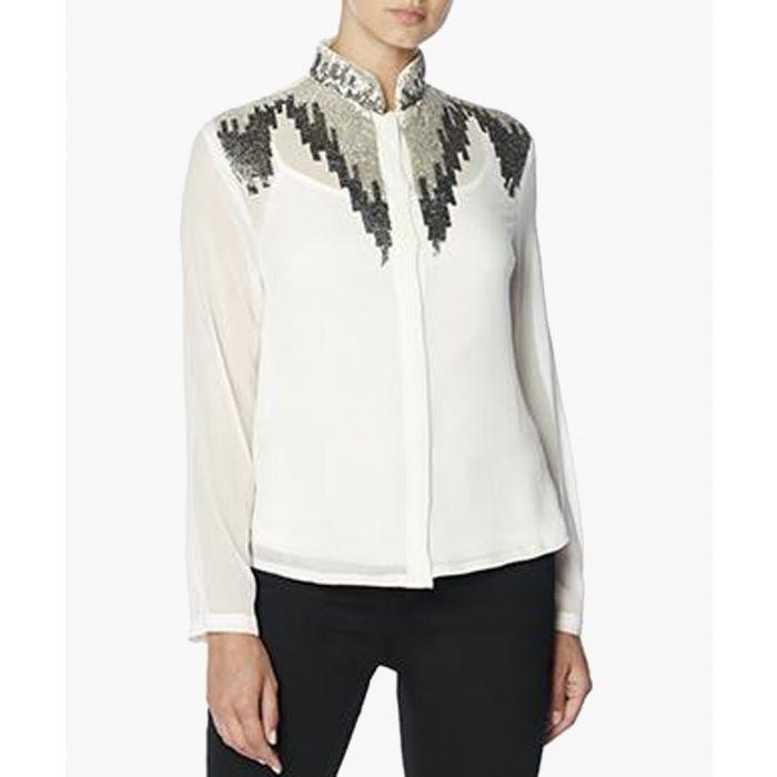 Image for Elena White Mandarin Collar Top