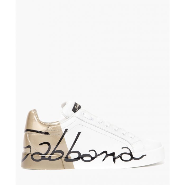 Image for Portofino white and gold-tone leather trainers