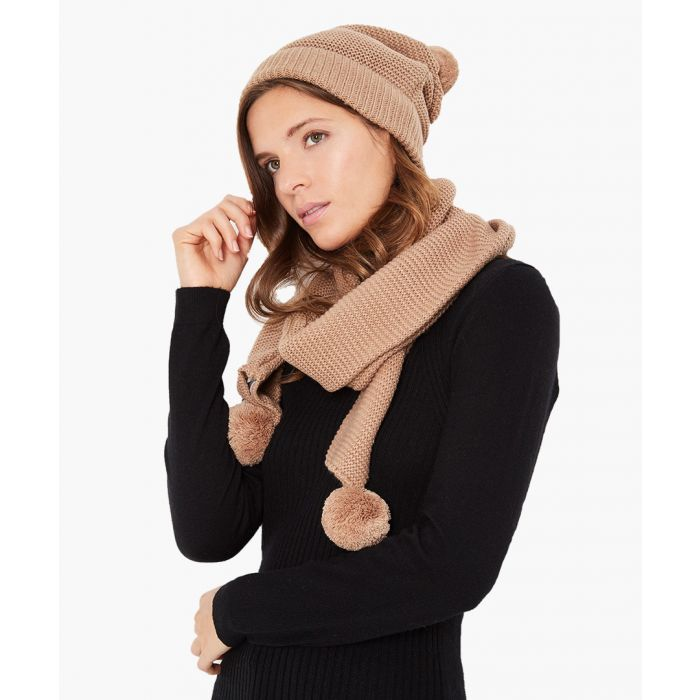 Image for 2pc camel cashmere and mohair blend scarf and cap set