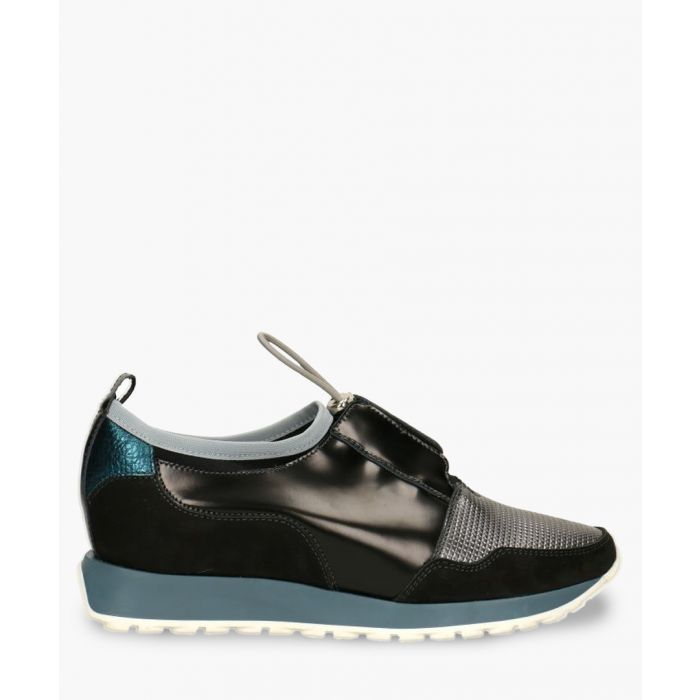 Image for Black & grey leather panel sneakers