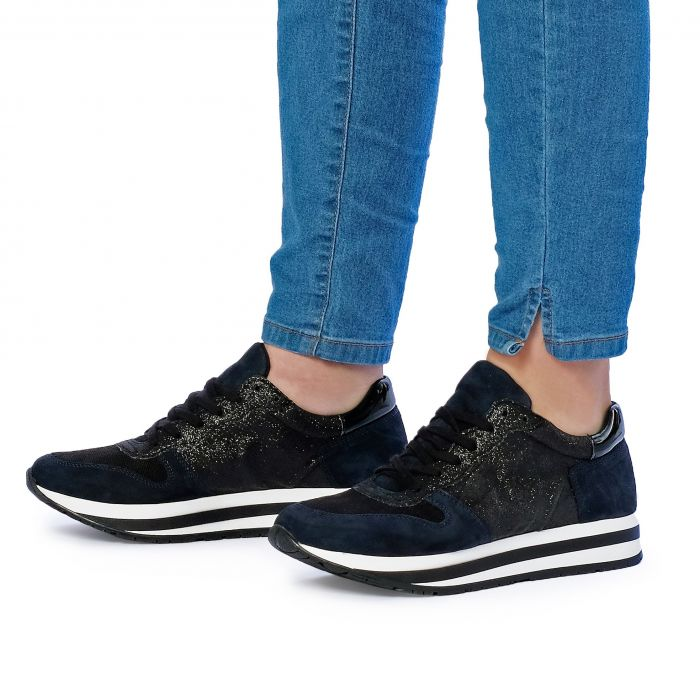Image for Womens Leather Sneakers Black and Navy