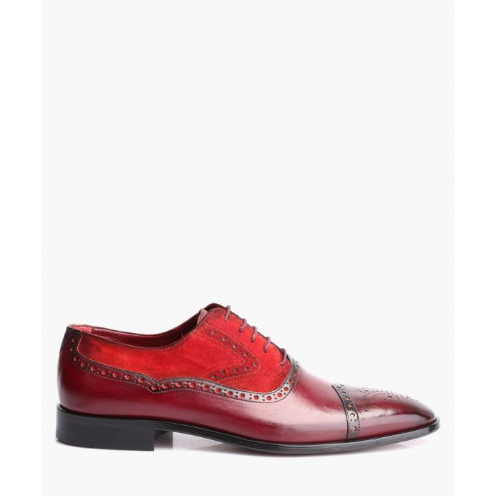 Image for Bordeaux and red leather oxford shoes