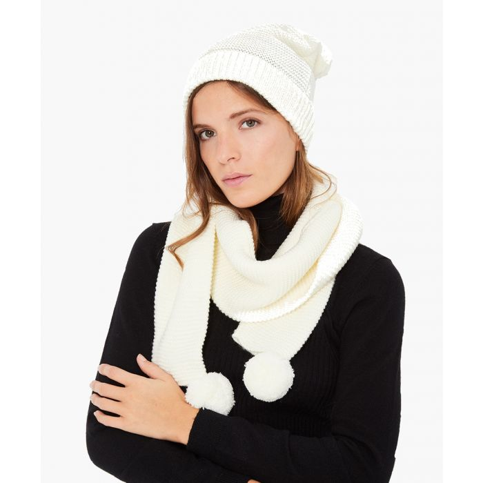 Image for 2pc natural cashmere and mohair blend scarf and cap set