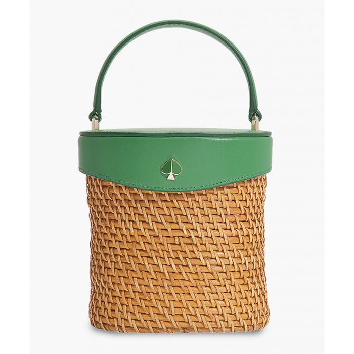 Image for Rose mini green leather bucket bag
