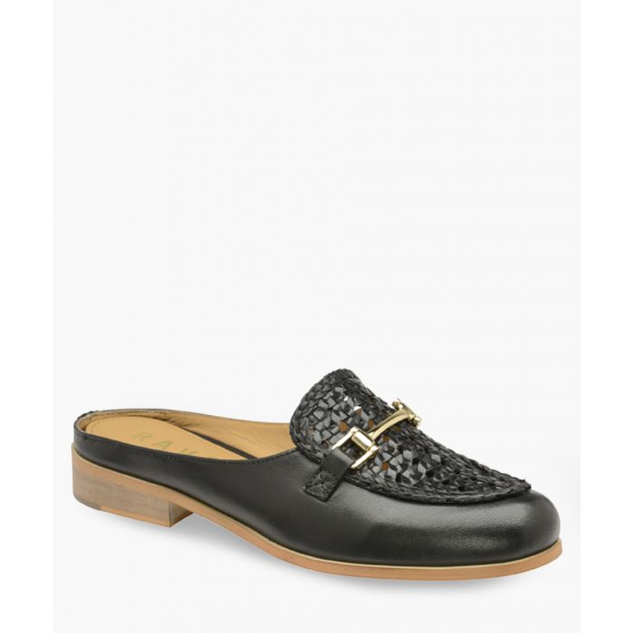 Image for Black leather horsebit mules