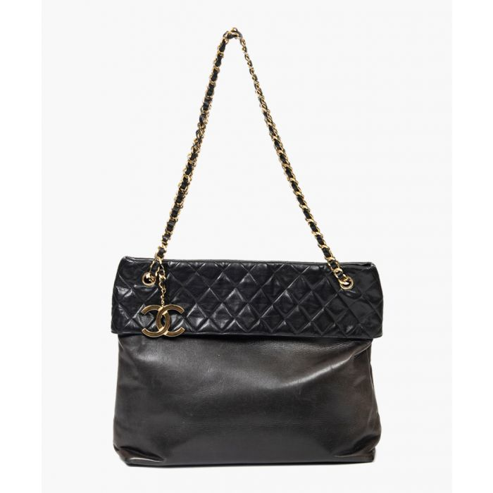 Image for Vintage black quilted Smooth leather shopper