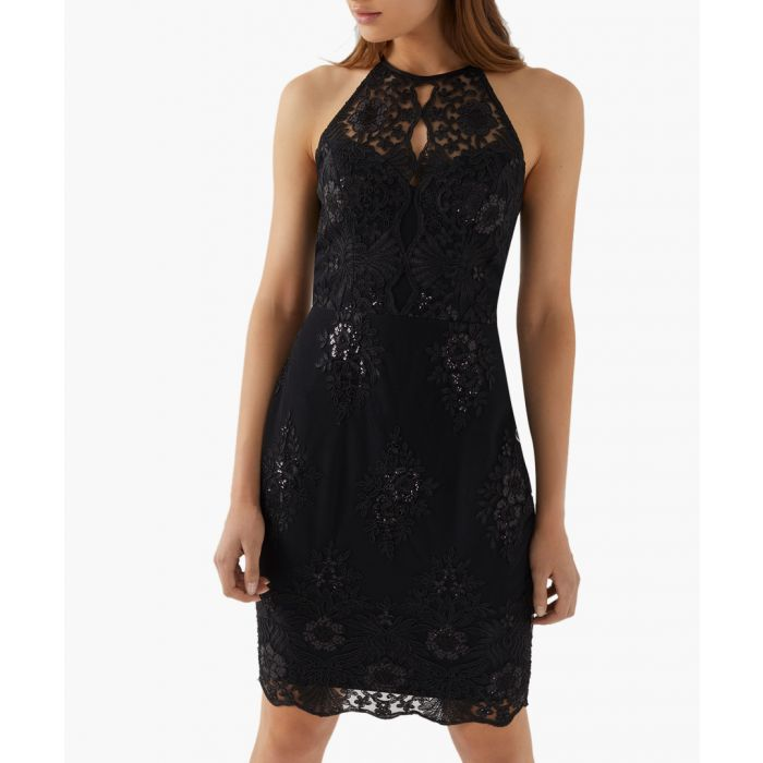 Image for Black sequin apron dress