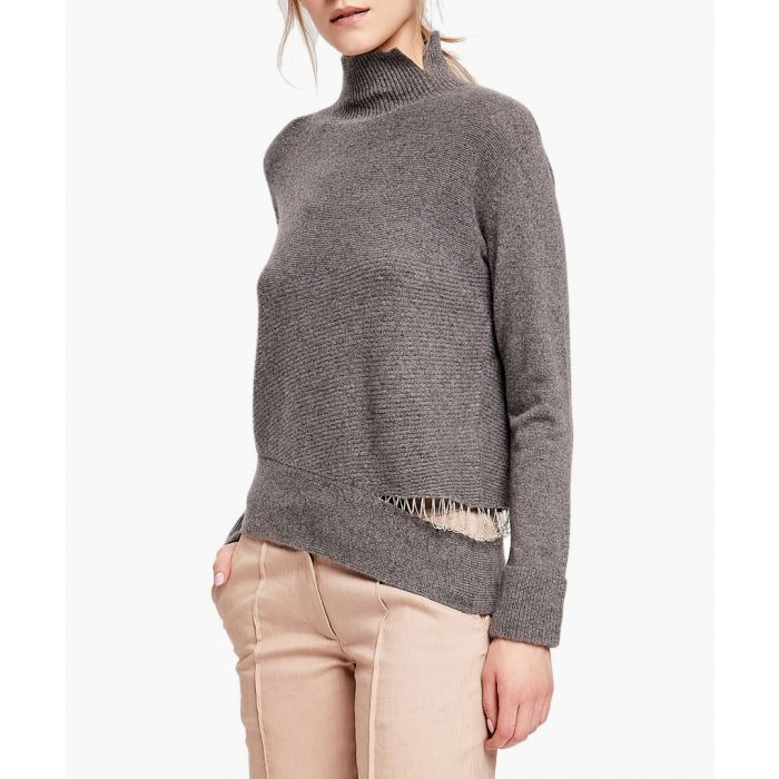 Image for Grey pure cashmere distressed jumper