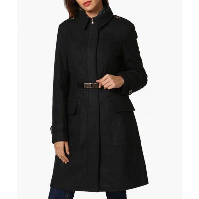 Image for Kika black wool blend military coat