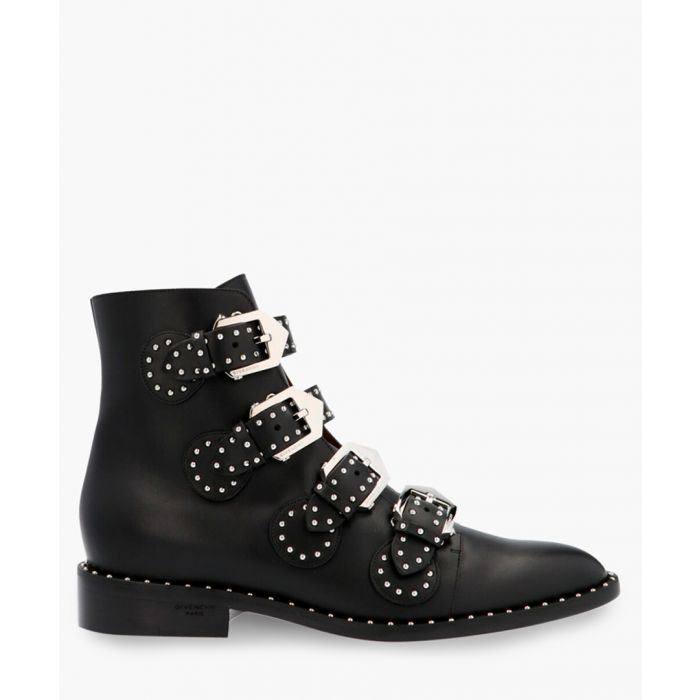 Image for Black leather studded multi-strap boots