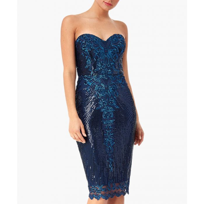 Image for Navy sweetheart neck embroidered sequin midi dress