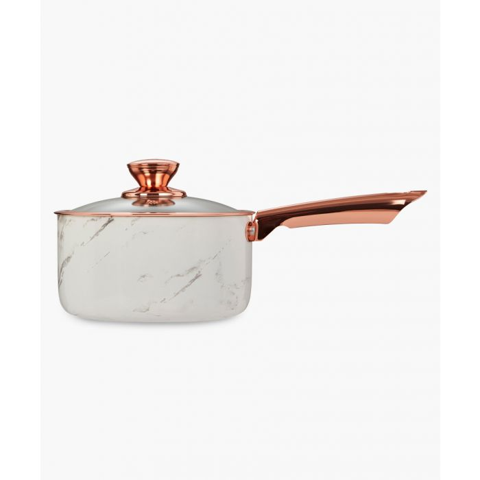 Image for 3pc White and copper-tone saucepans