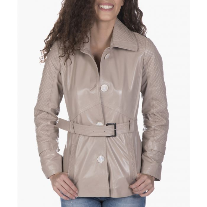 Image for Beige leather belted coat