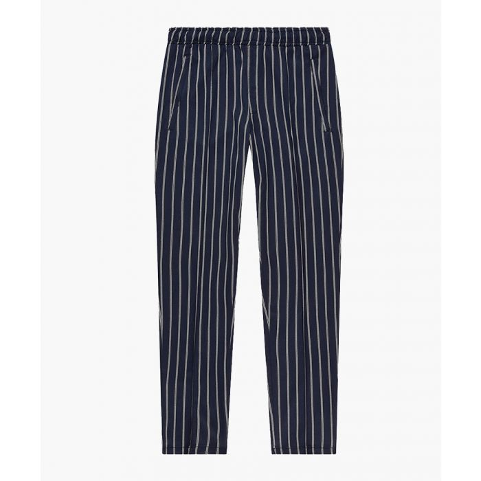 Image for Navy striped slim trousers