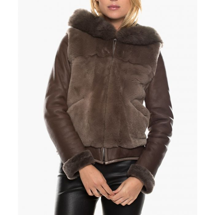 Image for Caliope taupe leather jacket