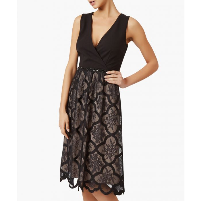 Image for Sabina black lace plunge dress