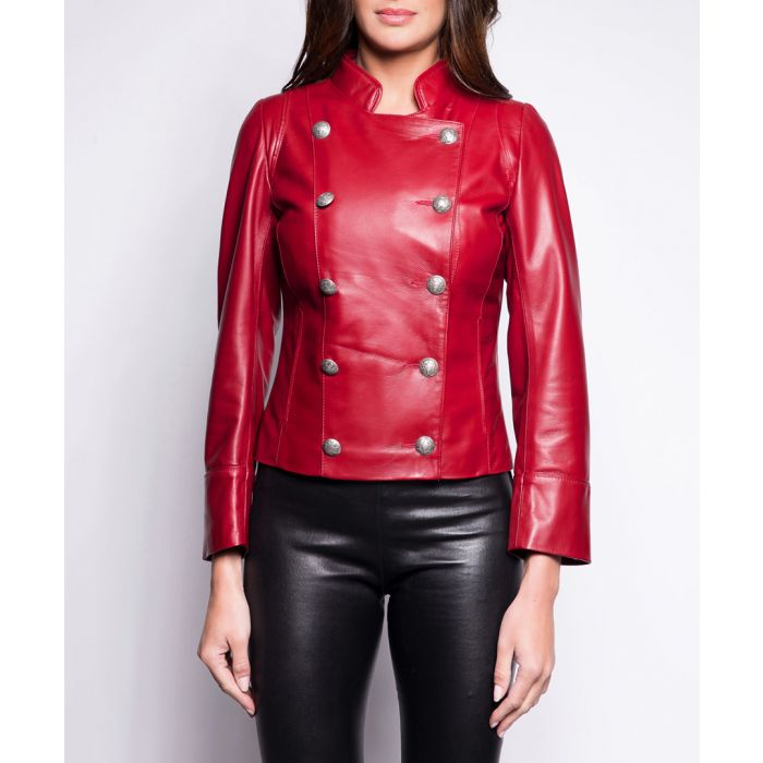 Image for Suzan rouge leather military jacket