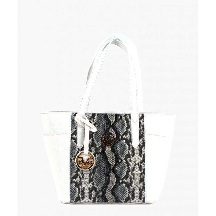 Image for White faux-leather snakeskin-effect panel tote