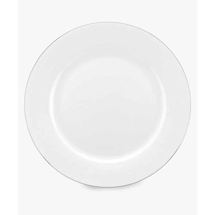 Image for 4pc Serendipity platinum band bone china dinner plates