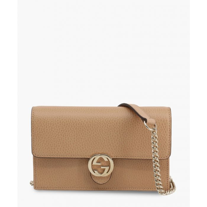 Image for Beige leather interlocking GG crossbody