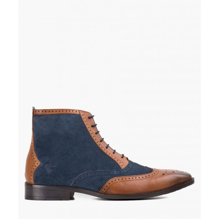 Image for Tan leather and navy blue boots