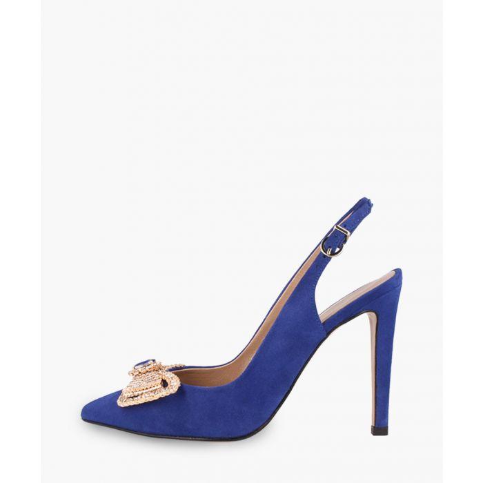 Image for Navy embellished slingback heels