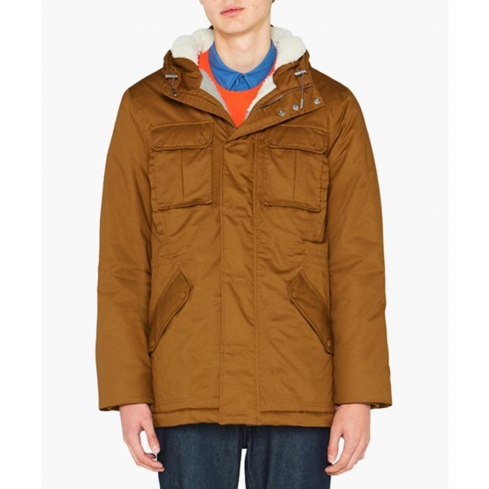 Image for Men's camel pure cotton insulated anorak