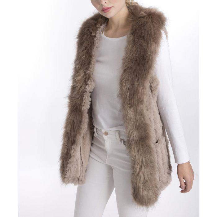Image for Mocha faux fur gilet