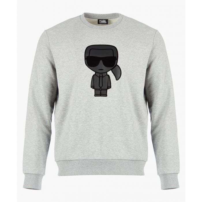 Image for Grey logo motif long sleeved jumper