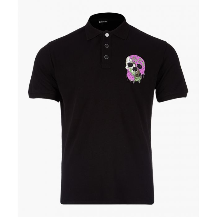 Image for Black cotton skull print polo shirt