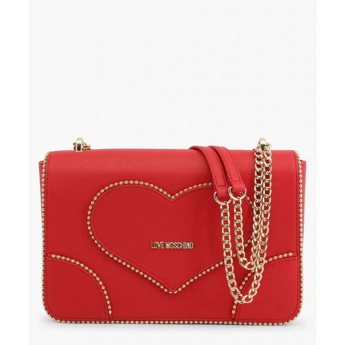Image for Red faux-leather shoulder bag