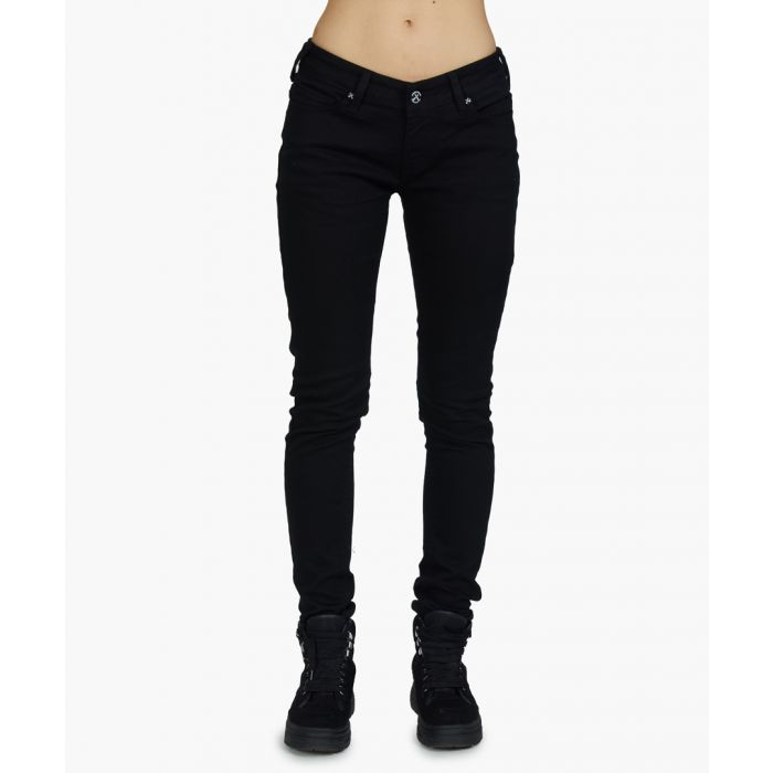 Image for Black and pink hand stretch jeans