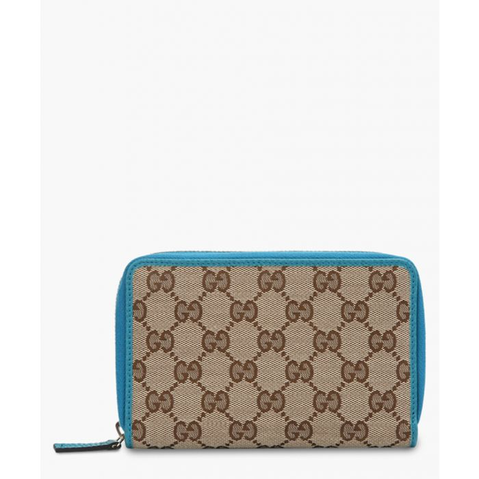 Image for Beige and light blue canvas and leather monogram wallet