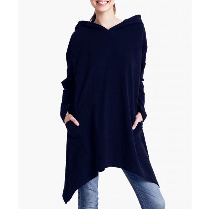 Image for Black cotton oversized hooded poncho