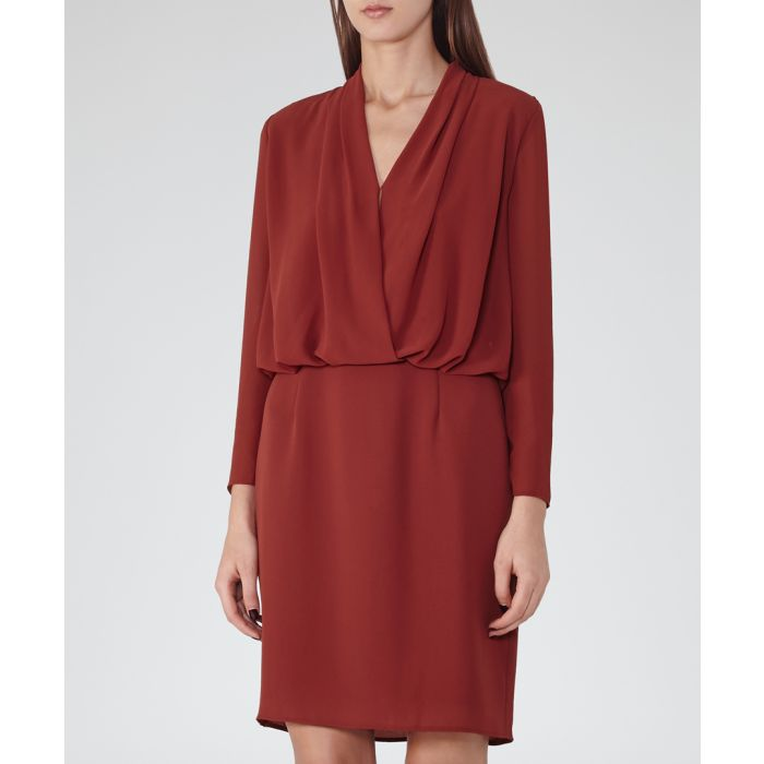 Image for Womens dark red long sleeve dress