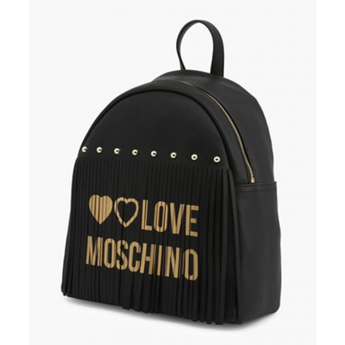Image for Black faux-leather backpack