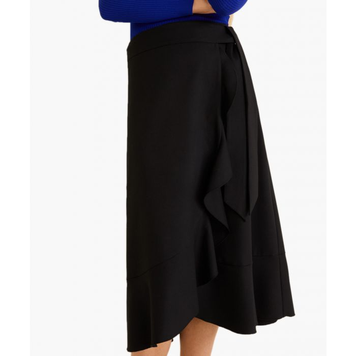 Image for Black ruffled wrap skirt