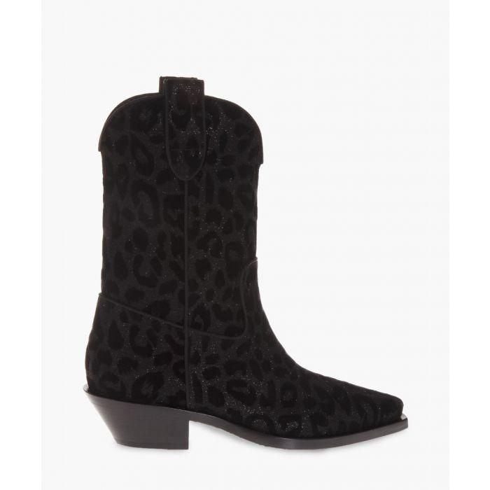 Image for Leopard print velvet gaucho boots