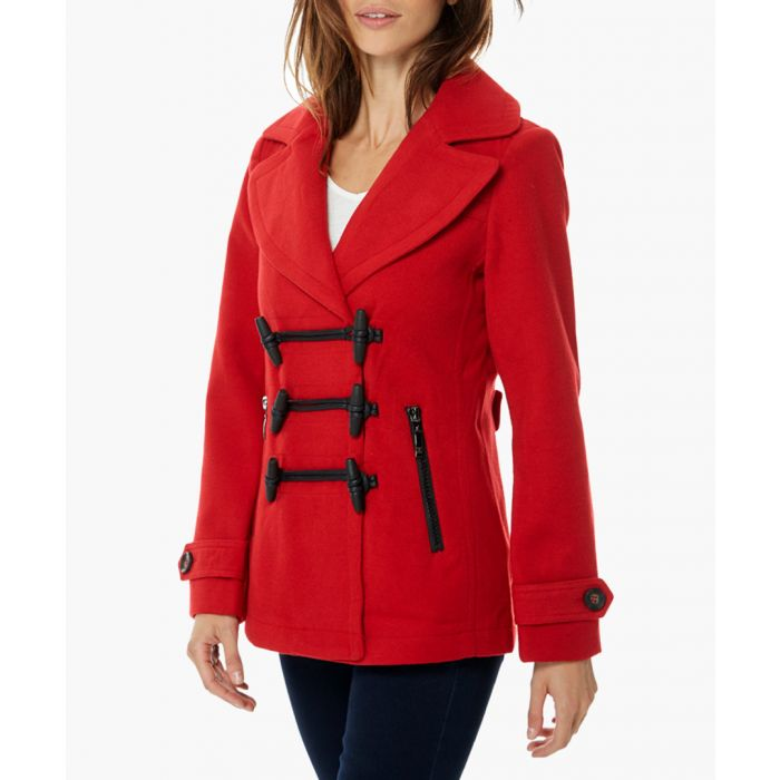 Image for Copa red wool blend short duffle coat