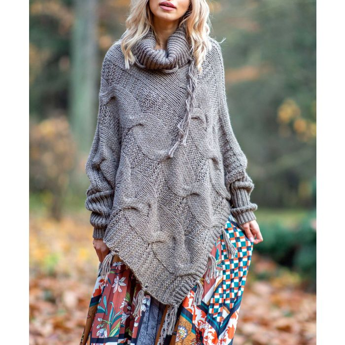 Image for Mocca knitted alpaca and wool blend poncho