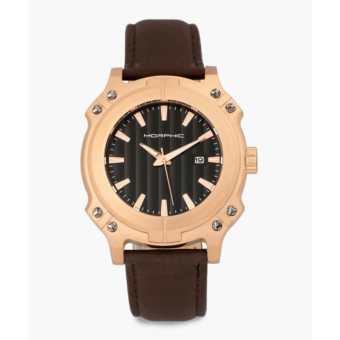 Image for M68 Series leather and stainless steel chronograph watch