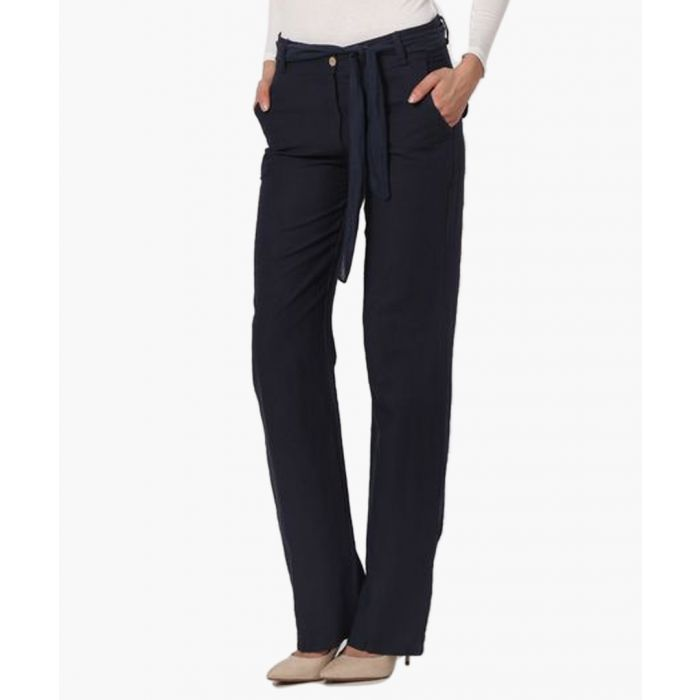 Image for navy pure linen tie trousers