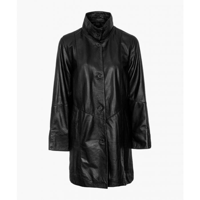 Image for Womens black high collar 5-button coat