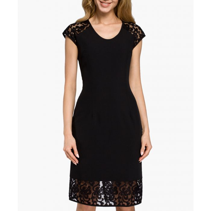 Image for Black embroidered lace detail dress