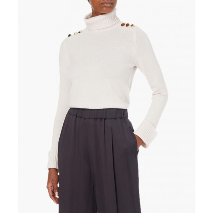 Image for Iron white cashmere high-neck jumper